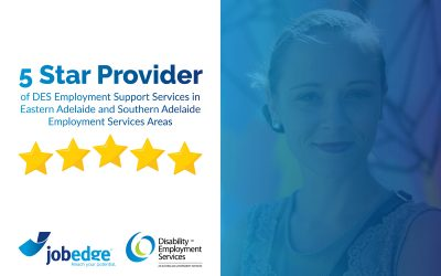 5 Star Rating performance for Jobedge in Eastern Adelaide and Southern Adelaide